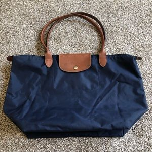 Navy Longchamp Nylon Tote